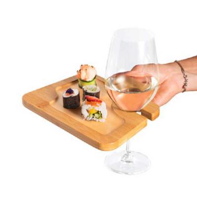 Crazy Ideas - Prato. Bambu. Com suporte para copo. Ideal para servir aperitivos. Fornecido em luva de cartão. Food grade. 200 x 147 x 13 mm | Luva: 160 x 148 x 14 m...