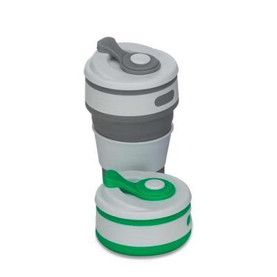 """Crazy Ideas - Copo retrátil 350ml de silicone, livre de BPA. Tampa plástica de encaixe com abertura para o bocal, acompanha """"luva"""" plástica branca, evitando queimar..."""