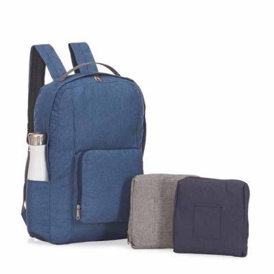 Crazy Ideas - Mochila dobrável, alça de mão, bolso frontal com ziper bolso lateral, tecido poliéster.