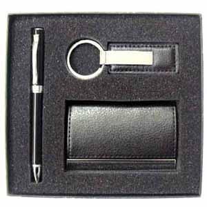Crazy Ideas - Kit pessoal contendo uma caneta em laca preta, chaveiro e porta cartão em couro sintético