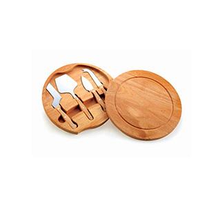 Crazy Ideas - Kit queijo 5 peças com tábua de madeira, possui detalhe circular em relevo na parte superior e parte inferior com borrachas anti deslizantes. Possui:...