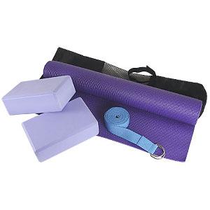 Crazy Ideas - Kit Yoga personalizado lilás, tapete 1,80 m, dois blocos em EVA, cinto reforçado com argolas de metal 2,40 m. Bolsa em nylon.