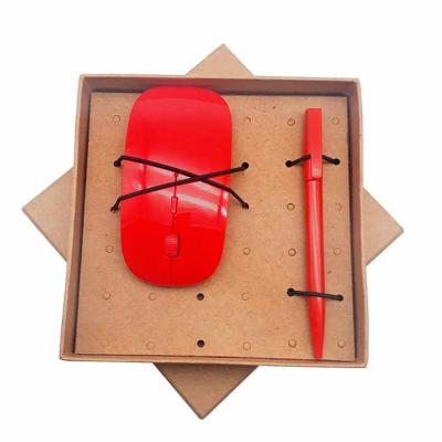 Crazy Ideas - Kit com mouse e caneta plástica em embalagem kraft