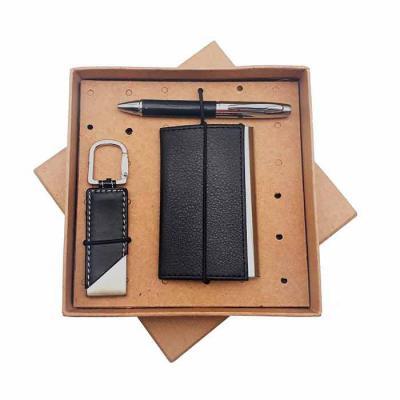 Crazy Ideas - Kit com porta cartão, caneta de metal e chaveiro em embalagem kraft