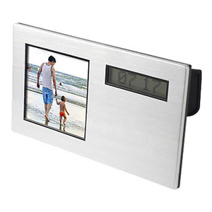Crazy Ideas - Relógio de mesa e porta retrato digital personalizados, com calendário e mensagem de texto (caracteres indefinidos).
