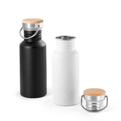 Crazy Ideas - Squeeze. Aço inox. Tampa em bambu. Capacidade: 540 ml. Food grade. Fornecido em caixa. Ø68 x 192 mm.