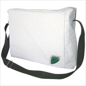 Bolsa carteiro ecológica horizontal personalizada em lona de algodão cru (artigo 390 gr / m²) - Compartimento principal acesso por zíper.