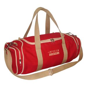 Ecofábrica - Bolsa ecológica personalizada, em lona de algodão reciclada ou lona nova colorida vermelha (artigo 490 gr / m²).