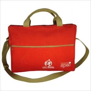 Ecofábrica - Bolsa ecológica personalizada, em lona de algodão reciclada ou nova colorida (artigo 490 gr / m²) - Compartimento acesso por zíper.