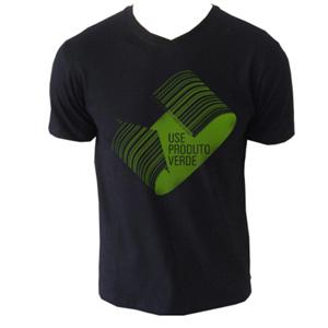 Ecofábrica - Camiseta personalizada simples colorida. Material: malha 50% poliéster reciclado e 50% algodão. Estampa aplicada diretamente na malha.