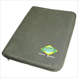 Ecofábrica - Fichário ecológico personalizado, com estrutura rígida e acabamento externo em lona de algodão reciclada, ou lona nova colorida cor verde estone.