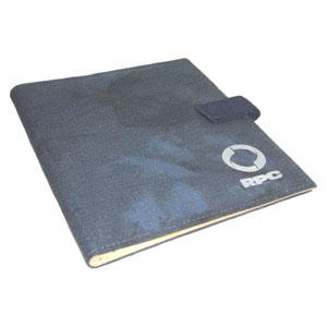 Ecofábrica - Pasta Executiva de Mesa Personalizada, em lona de algodão reciclada ou lona nova colorida azul estone - Acabamento interno em couro reciclado natural.