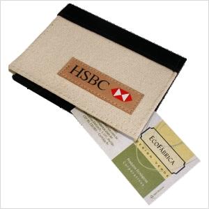 ecofabrica - Porta-cartões ecológico personalizado, com acabamento externo em lona de algodão cru e preto, e interno em couro reciclado e nylon 70 - Oito compartim...