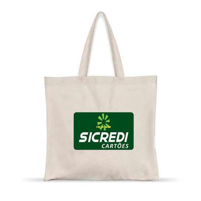 Artebelli Promocional - Sacola em algodão cru com alça do mesmo material, personalização por serigrafia, Produto resistente e ecológico, com diversas medidas.