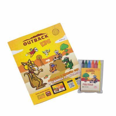Artebelli Promocional - Kit de atividade personalizado, composto por giz de cera e caderninho com jogos e ilustração para pintar. Conquiste seus clientes com um produto diver...