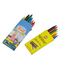 Artebelli Promocional - Estojo caixinha de giz de cera personalizado com várias cores de tamanho médio 8 cm. Quantidade mínima: 5.000 estojos. Leve aos sues clientes diversão...