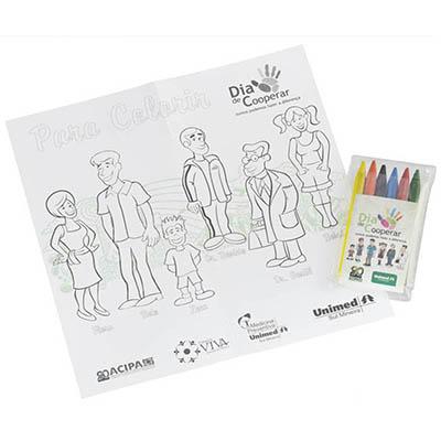Artebelli Promocional - Estojo personalizado de Giz de Cera com folha personalizada para colorir.