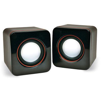 Malgueiro Brindes - Caixa de som personalizada com USB, P2 e controle de volume. Um brinde personalizado ideal para a sua marca.