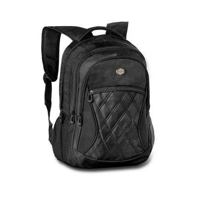 Malgueiro Brindes - Mochila personalizada com dois bolsos laterais de rede, sem divisória para notebook e compartimentos internos, alça acolchoada, porta óculos na alça,...