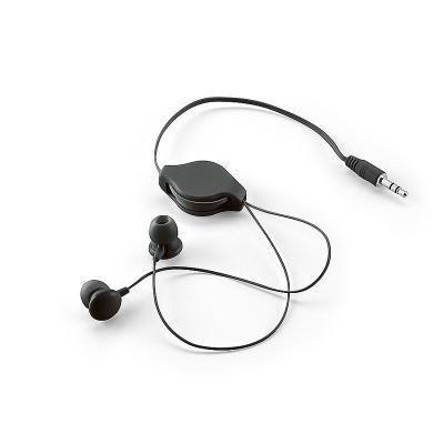 Redd Promocional - Fone de ouvido retrátil personalizado com embalagem de non-woven (similar ao tnt), possui fone de ouvido com saída P2, borrachas em silicone confortáv...
