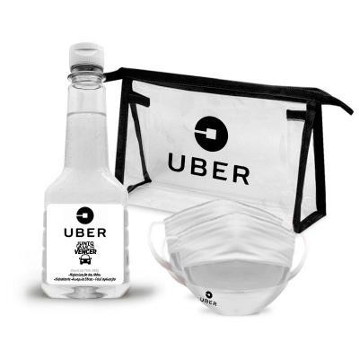 Redd Promocionais - Kit Prevenção com Álcool em Gel 200g com 2 Máscaras camada dupla e Necessaire 1