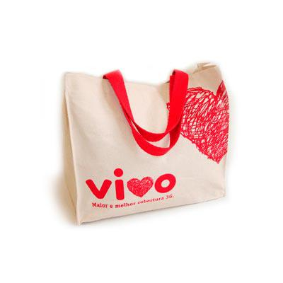 Bag & Pack's - Sacola para evento em lona rústica com alça em algodão vermelho (ecossocial)