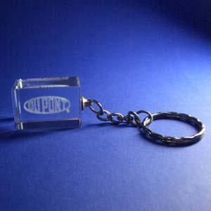 Crystallium - Cristal Personalizado com gravação a laser interna tridimensional. Modelo: Chaveiro.