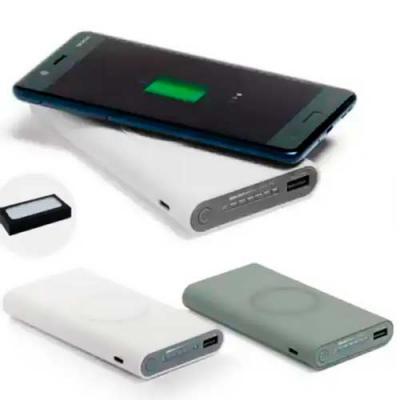 imagine-pack-brindes - Bateria portátil wireless. ABS. Acabamento emborrachado. Carregamento do dispositivo por indução. Bateria de lítio. Capacidade: 11.000 mAh. Tempo de v...