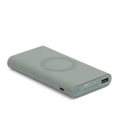 Imagine Pack Brindes - Bateria portátil wireless. ABS. Acabamento emborrachado. Carregamento do dispositivo por indução. Bateria de lítio. Capacidade: 11.000 mAh. Tempo de v...