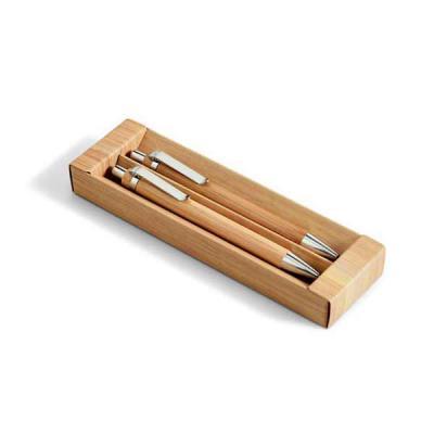 Lamarca Brindes - Conjunto de esferográfica e lapiseira. Bambu. Esferográfica: 1,5km de escrita. Lapiseira: grafite 0.7. Em estojo de cartão. ø11 x 138 mm | Estojo: 171...