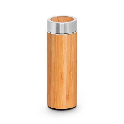 Lamarca Brindes - Garrafa térmica. Bambu e aço inox. Com parede dupla e infusor para chá. Capacidade até 430 ml. Fornecida em caixa presente. Food grade. ø69 x 207 mm |...