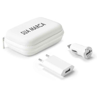 Lamarca Brindes - Kit de carregadores USB ABS.  Incluso carregador de corrente DC 110V/220V e carregador para carro DV 12-24V.  Fornecido com bolsa EVA.  Bolsa: 112 x 8...