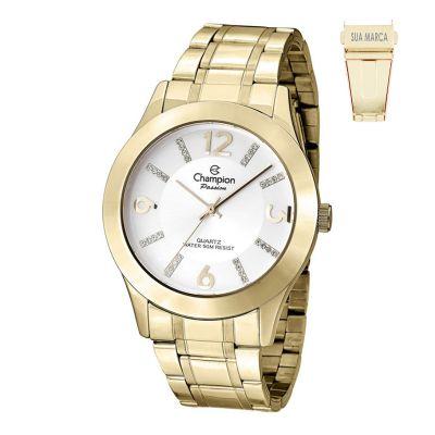 Lamarca Brindes - Relógio de pulso Champion, caixa em metal, pulseira em aço, mostrador branco, embalagem individual.