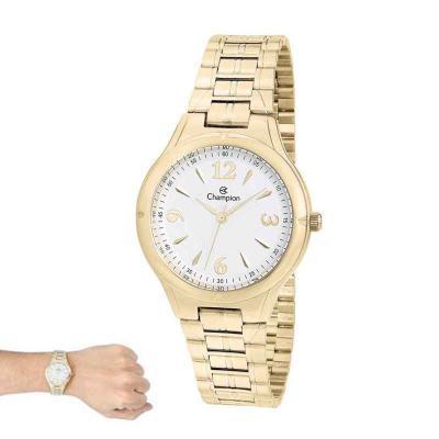 Lamarca Brindes - Relógio de pulso, marca Champion original, caixa em metal, pulseira de aço, mostrador branco, prova d'água, embalagem individual.
