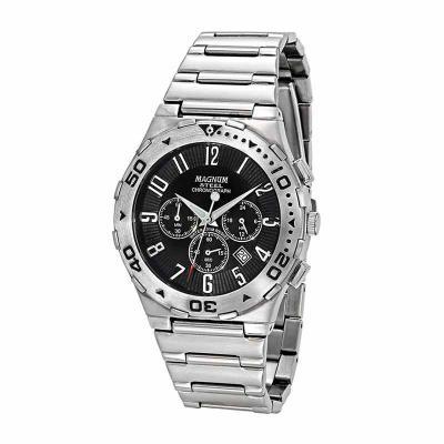 Lamarca Brindes - Relógio de pulso, marca Magnum original,  caixa em aço, pulseira de aço, mostrador preto com calendário e cronógrafo, prova d'água, embalagem individu...