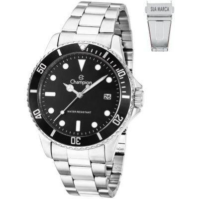 Lamarca Brindes - Relógio de pulso LA21CA31266T, caixa em aço, pulseira em aço, mostrador preto com calendário, embalagem individual.
