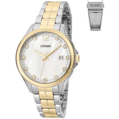 Lamarca Brindes - Relógio de pulso Original marca CITIZEN LA21TZ28397M, caixa em aço, pulseira de aço, mostrador prata com calendário, prova d'água, embalagem individua...