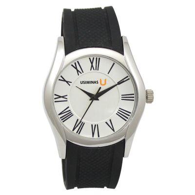 Lamarca Brindes - Relógio de pulso com mostrador branco, pulseira de borracha, 01 cor de gravação. Acompanha certificado de garantia e embalagem individual.