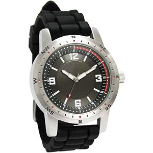 Lamarca Brindes - Relógio de pulso em aço com mostrador preto, uma cor de gravação e pulseira de borracha. Acompanha certificado de garantia e embalagem plástica.