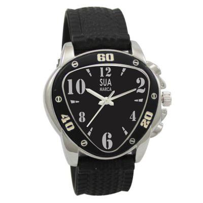 Lamarca Brindes - Relógio de pulso, mostrador preto com 01 cor de gravação, pulseira borracha, certificado de garantia e embalagem individual.