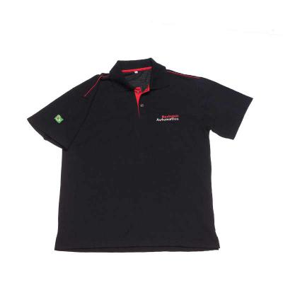 Opção Promocional - Camisa Polo com friso, confeccionada em piquet pa, bordado no peito e na manga, detalhe em peitilho colorido e friso no ombro