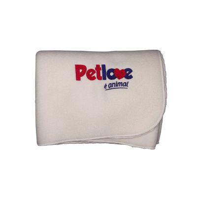 Opção Promocional - Manta confeccionada em soft, bordado, acabamento em festonê, fto: 1 m x 0,75 m.
