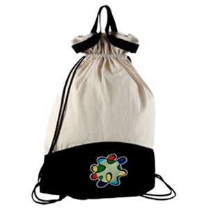 Opção Promocional - Mochila saco ecológica, confeccionada em lonita cru e colorida.