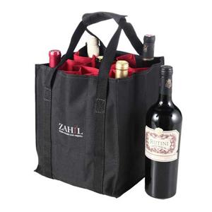 Opção Promocional - Sacola para vinho, confeccionado em nylon 600, com divisórias para 09 garrafas.