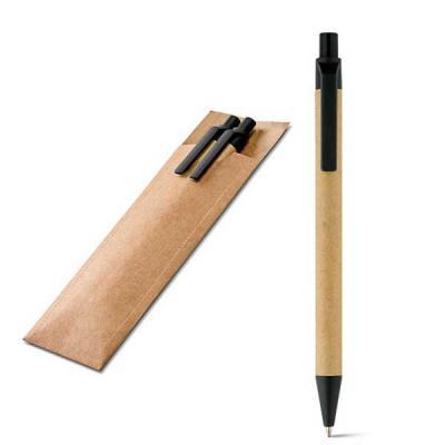 NTP Brindes - Conjunto de caneta e lapiseira  Peças sustentáveis, feitas em kraft Clip e ponteira plástica na cor preta Com estojo em Kraft  COM 01 impressão a 01 c...