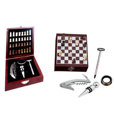 NTP Brindes - Kit para vinho com jogo de xadrez