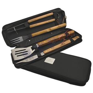 NTP Brindes - Kit churrasco em pasta de nylon, com faca, espátula, garfo e pegador.