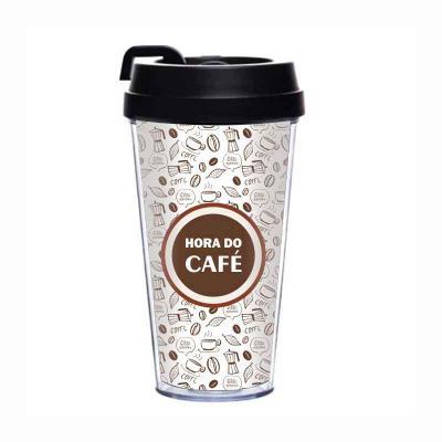 Redosul Brindes - Copo para café transparente com dupla camada em poliestireno cristal super resistente. Impressão em off-set sem limite de cores. Capacidade de 500ml....