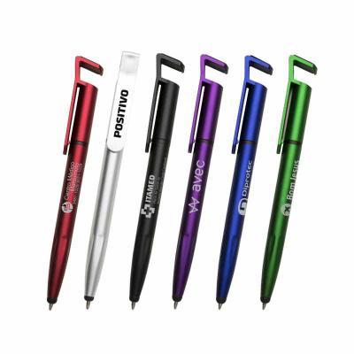Redosul Brindes - Caneta plástica personalizada 3 em 1 com ponteira Touch Screen. Possui corpo plástico aluminizado colorido, ponta com touch e um suporte para celular....