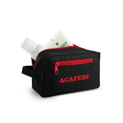 Redosul Brindes - Bolsa de cosméticos nécessaire promocional personalizada produzida em nylon 600D. Com alça e bolso frontal.